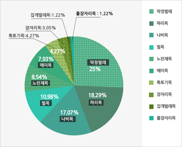 Dokdo's insects / Total of 134 species / Coleoptera / Diptera / Lepidoptera / Hymenoptera / Hemiptera / Homoptera / Collembola / Odonata / Orthoptera / Dermaptera / Neuroptera.Sources: Daegu Local Ministry of Environment, 2013; Gyeongsangbukdo, 2010, Dokdo Series